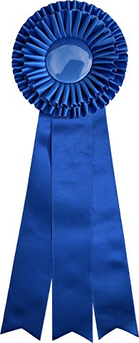 Giant Premium Blue Ribbon Award Rosette - for Prize, Party, Gift, or Prop - 18 inch - Double Rosette with Triple Streamers (Blue)