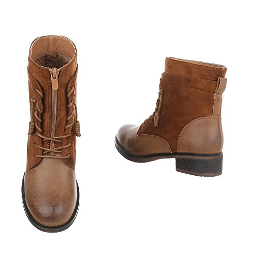 Ital-Design Schnürstiefeletten Damenschuhe Schnürstiefeletten Blockabsatz Schnürer Reißverschluss Stiefeletten Camel
