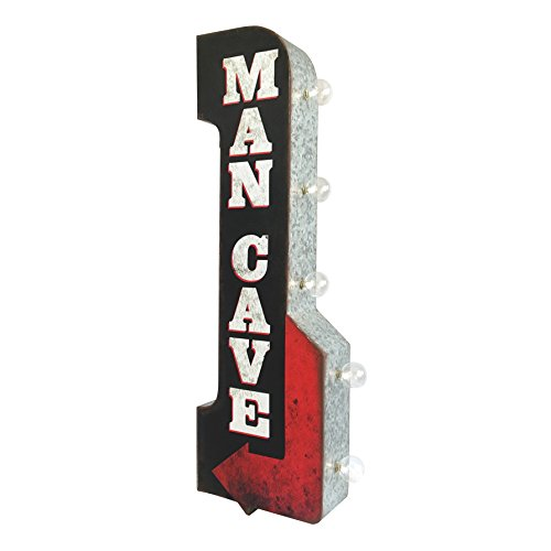 D Lighted Man Cave Arrow Sign, Two Sided Metal With Distressed Finish 11