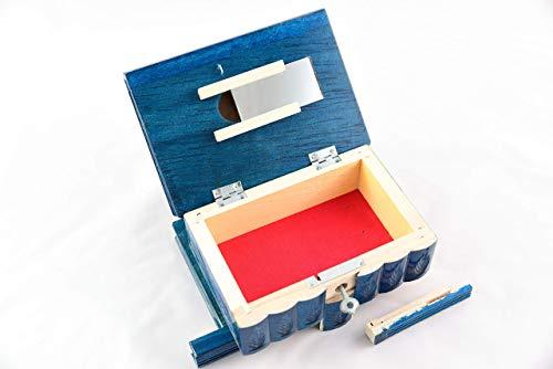 Hidden Compartment Safe Stash Puzzle Jewelry Box Lock Key Wood Brain Teaser Gift Idea Keepsake All-Blue
