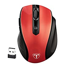 Wireless Mouse 2.4GHz, Pictek 6 Buttons, Nano Receiver, 2400 DPI, 18 Month Battery Life with Auto Energy-saving Sleeping Mode 5 Adjustment Mobile Mouse for Windows, Mac and Linux, Red