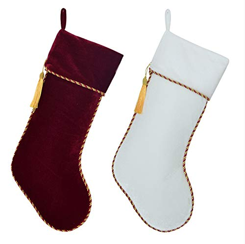 Mydufish New Arrvial Set of 2 Pcs White & Red Velvet Stocking with Tassel Decoration -