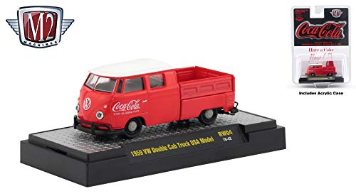 - M2 Machines 1959 VW Double Cab Truck USA Model Limited Edition Coca-Cola Release RW04H - 2018 Castline Hobby Edition 1:64 Scale Die-Cast Vehicle & Display Case (RW04 18-42)
