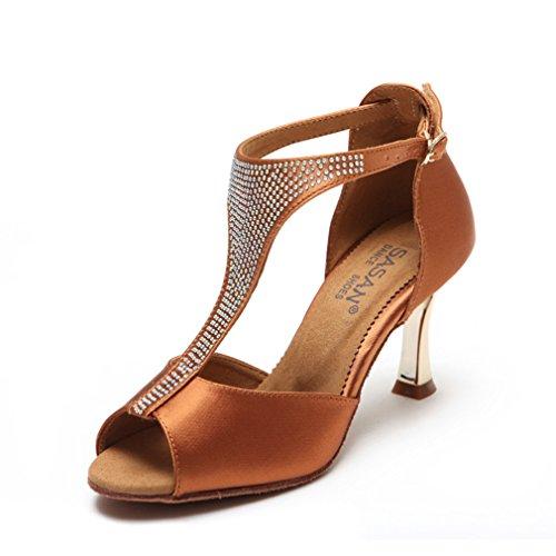 BYLE Sandalias de Cuero Tobillo Modern Jazz Samba Zapatos de Baile Zapatos de Baile Latino Adulto de Tacón Alto Zapatos de Baile Latino DE 40