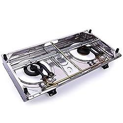 Cypressshop Portable Propane Gas Stove Dual Burner Heads Emegency Double Gas Cooking Camping Cooker Hose Regulator