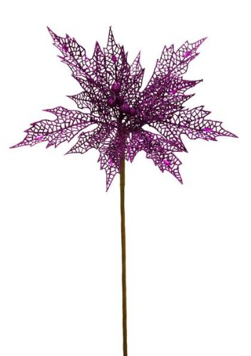 Renaissance 2000 Decorative Poinsettia with Jewel Spray, 22-Inch, (Purple Poinsettia)