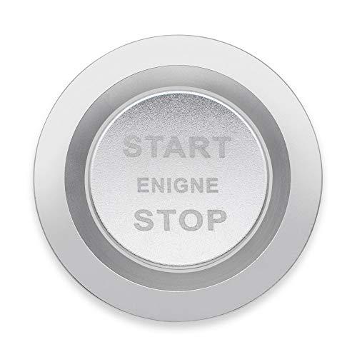 Ceyes Car Start Engine Stop Emblem Push Button Start Overlay Decal Car Ignition Start Button Trim Sticker for Land Rover Discovery Range Rover Velar Evoque Jaguar - Silver Start Button Cover + Ring