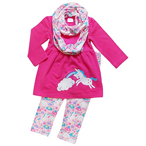 So Sydney Toddler Girls 1, 2 3 Pc Unicorn Print Tunic Top, Leggins, Infinity Scarf Tutu Outfit (S (3T), Rainbows & Unicorns Hot Pink) -