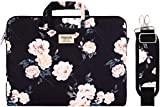 MOSISO Laptop Shoulder Bag Compatible with 2019 MacBook Pro 16 inch A2141, 15-15.6 inch MacBook Pro 2012-2019, Notebook, Canvas Pattern Briefcase Sleeve with Back Trolley Belt, Apricot Peony