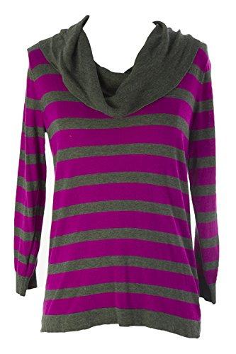 August Silk Women's Striped Cowl Neck Sweater X-Large Tahitian Magenta