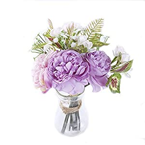 "MARLLES Real Touch Artificial Bridal Peony Bouquet in Lavender and Pink, Faux Rose Flowers Wedding Bouquets for Bridesmaids Party Home Decor - 11.5"" Tall-Purple 94"