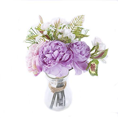 MARLLES Real Touch Artificial Bridal Peony Bouquet in Lavender and Pink, Faux Rose Flowers Wedding Bouquets for Bridesmaids Party Home Decor - 11.5