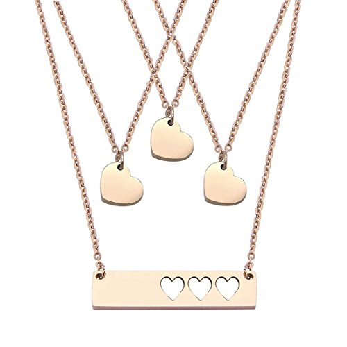 JJTZX Mother Daughter Bar Necklace Set Horizontal Bar Necklace with Cutout Heart Mommy and Me Bar Necklace Set First Day of Kindergarten Gift (Rose Gold bar Set-3 Hearts)