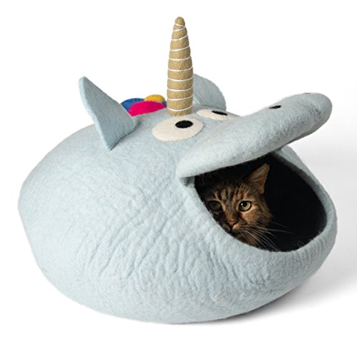 Twin Critters - Handcrafted Cat Cave Bed (Large) I Ecofriendly Cat Cave I Felted from 100% Natural Merino Wool I Handmade Pod for Cats and Kittens I Warm and Cozy cat Bed (Unicorn)