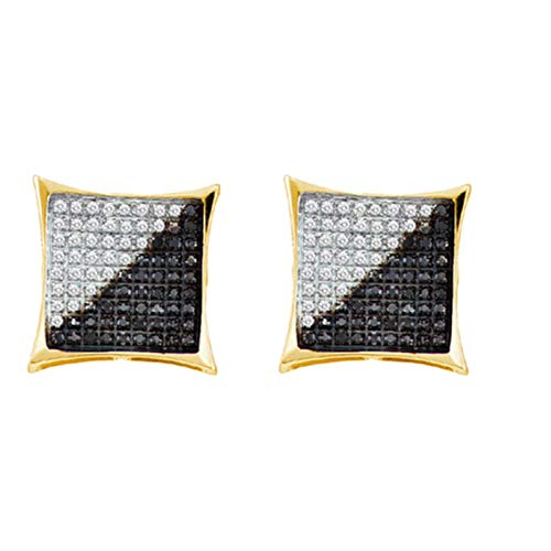 Aienid 10K Yellow Gold 0.32Ct Diamond Earrings for Women Micro-Pave Stones