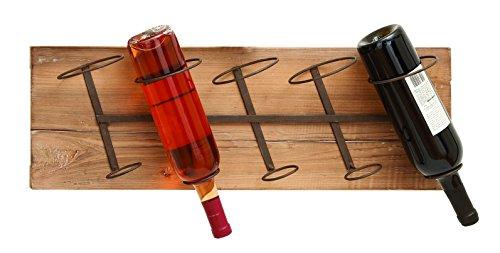 """Wall Wood Metal Wine Rack 26""""W, 8""""H"""