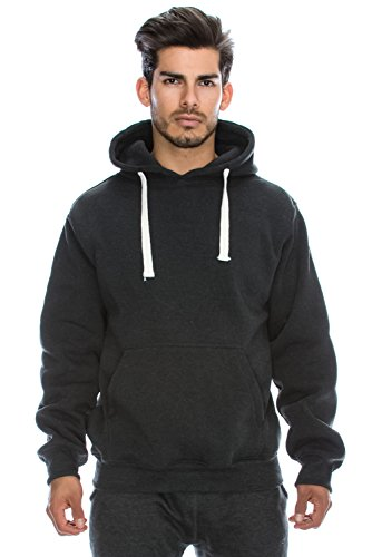 Men Hipster Hip Hop Basic Heavyweight Pullover CHARCOAL Hoodie Jacket Large