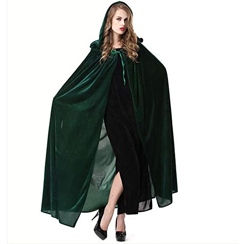 Witch Robe - Rulercosplay New Halloween Cloak Witch Hoodies Cosplay Costume (Green)