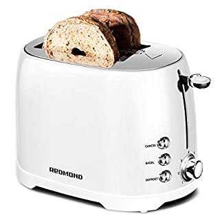 """REDMOND Retro Toaster 2 Slice Stainless Steel Compact Bagel Toaster with 1.5""""Extra Wide Slots, 7 Bread Shade Settings, Removable Crumb Tray for Breakfast, 800W (White)"""
