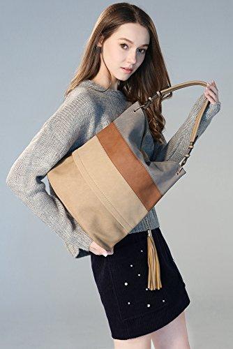 Stripes Totes Shoulder Bags Hobo Women For Top Gray Tassels Handbags Handle xFn0A4A