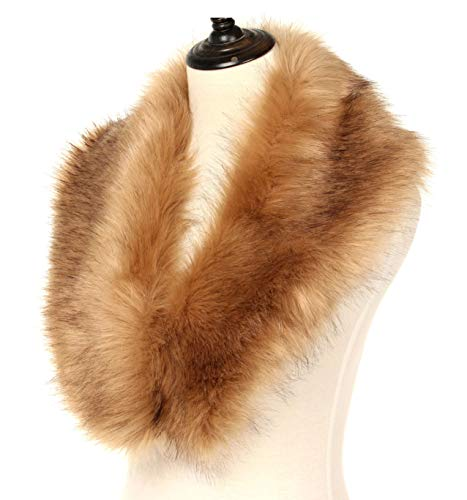 - La Carrie Women's Faux Fur Collar Scarf Wrap Cold Winter Warmer(Brown)