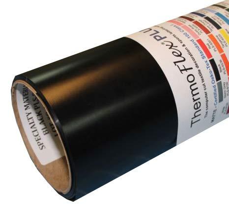 ThermoFlex Plus 15'' x 50' Roll Black Heat Transfer Vinyl, HTV by Coaches World