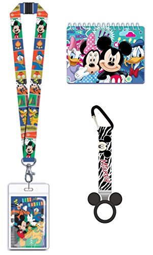 Magical Memories Collection Disney Autograph Book, Lanyard, and Bottle Holder Bundle- Mickey Donald Goofy Pluto Trip Vacation Cruise Accessory for ID and Pin Trading (Mickey Donald Goofy Pluto)
