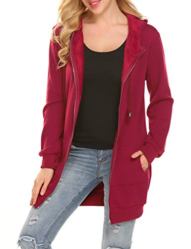 Loose Fit Pocket Zip Up Hoodie Long Tunic Sweatshirts Fur Fleece Jacket Coat (L, Wine Red-1) ()