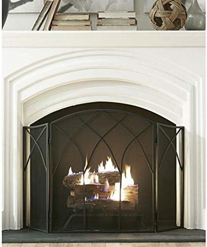 特大の金属暖炉スクリーン、固体ベビーペット安全保護フェンス、,ストーブアクセサリー-68×30×80cm、黒 (Color : Black, Size : 68×30×80cm)