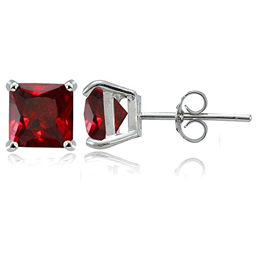 Sterling Silver Created Ruby 7mm Square Stud Earrings