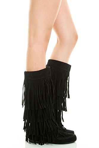 Refresh Jolin-02 Women's Fringe Moccasin Flat Heel Zipper Under Knee High Boots,Black,10 ()