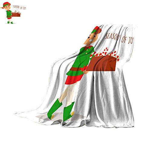 Lightweight Thermal Blankets Digital Printing WarmSanta Claus elf Kids Cartoon elf Helpers Vector Christmas Illustration Children Elves Characters Traditional Costume Throw Blanket 90