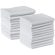 20 Standard Size 100% Cotton White T220 Percale Wholesale Bulk Discount Pillowcases Shams for Tie-Dying, Silk Screening, Hotels, Crafts, Camps, Parties, Physical Therapy