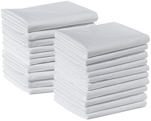 20 Standard Size 100% Cotton White T220 Percale Wholesale Bulk Pillowcases Tie-Dying, Silk Screening, Hotels, Crafts, Camps, Parties, Physical Therapy (20 Pack - Standard - 100% Cotton)