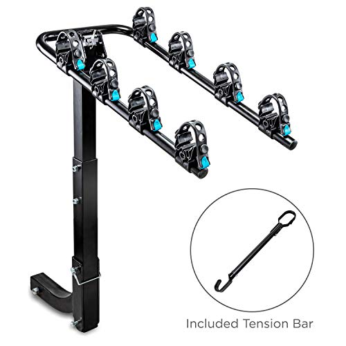 Hitch Mounted 4 - Bike Rack Carrier, Sturdy Bicycle Swing Rack with Tension Bar Included - Fits 2