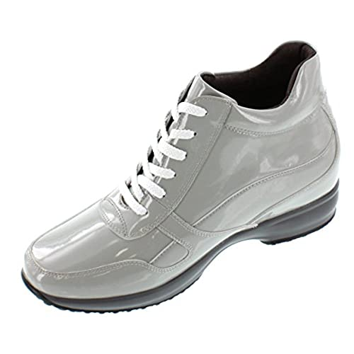 hot sale CALTO - G65231 - 3.2 Inches Taller - Height Increasing Elevator Shoes - Off Grey Patent Leather Boots