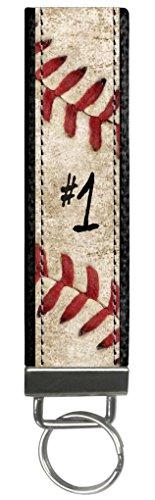 Design Personalized Keychain (Snaptotes Personalized Baseball Player Number Baseball Stitch Design Wristlet Keyfob Keychain One Size)