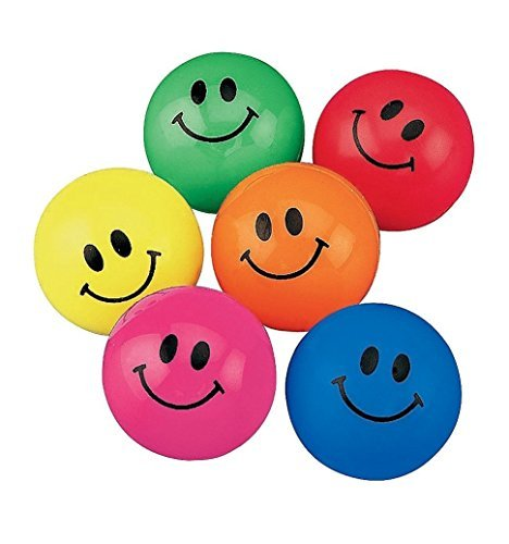 2 Pack of 48 Fun Express Smile Face Bouncing Balls bundled by Maven Gifts]()