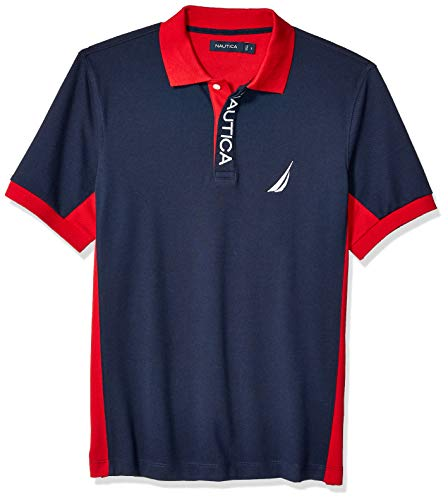 Nautica Men's Short Sleeve Color Block Performance Pique Polo Shirt, Navy, XX-Large ()