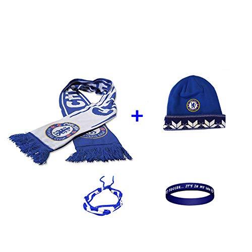 Chelsea FC Soccer Set Beanie Skull Cap Hat and Scarf Reversible + 2 Bracelet Set 4 Pcs CHEL003