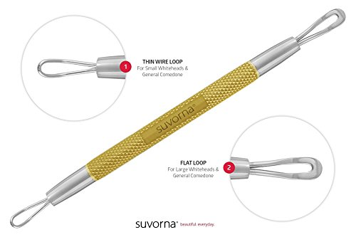Suvorna Skinpal s95 Whitehead & Blackhead Remover, Cleaner & Comedone Extractor 2in1. Made with Dermatologist Grade Surgical Steel. Approved by Best aestheticians, Comes with Product guide & Warranty.