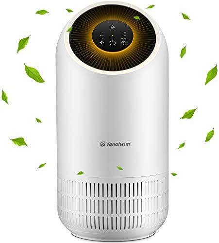 Vanaheim Purifier with True HEPA Filter, Removes Odor Allergies, Eliminator for Smoke, Dust, Mold, Germs, and Pet Dander, Low Noise Home Air Cleaner Optional Night Light, 3-in-1, US-120V, White