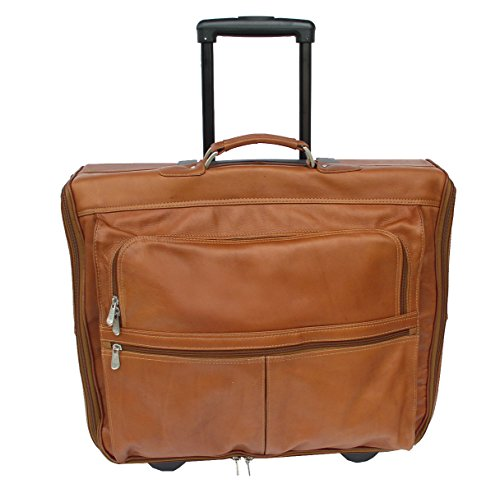 Piel Leather Traveler Garment Bag on Wheels in Saddle by Piel Leather