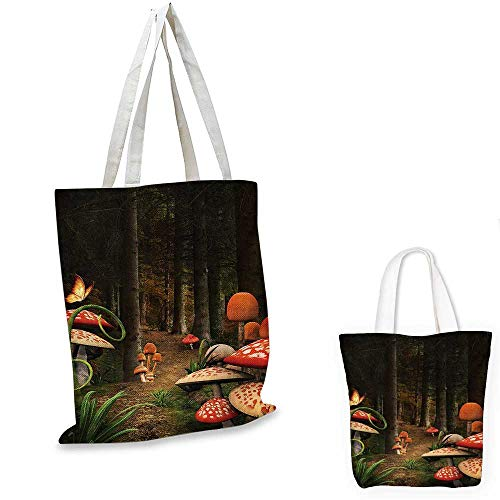 - Mushroom shopping tote bag Mushrooms in Deep Dark Forest Fantasy Nature Theme Earth Path Mystical Image travel shopping bag Red Green Brown. 16