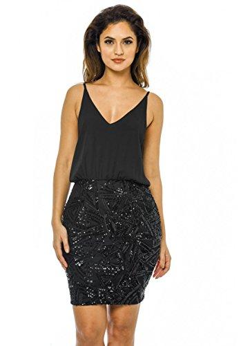 Buy black 2 in 1 sequin skirt dress - 2