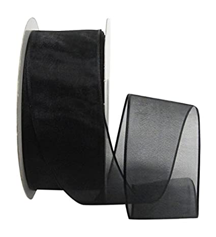 Ribbon Bazaar Wired Sheer Organza 1-1/2 inch Black 25 yards Ribbon BCACS13026