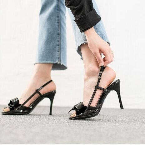 Sandals Color High Word High VIVIOO High Leather Black Wild Sandals Heels Heel With Heels Patent With Summer Nude Female Bow xxwRqBfg