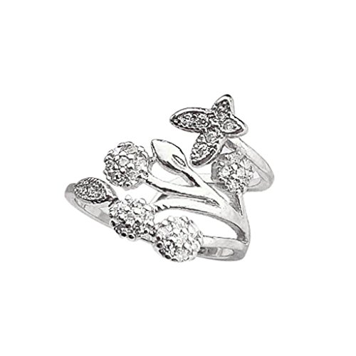 Yeefant ♥Elegant Gifts♥ Little Romance Silver Plated Butterfly Micro Inlay Flower Crystal Bridal Engagement Finger Ring Jewelry for Wedding Couple,Gift ()
