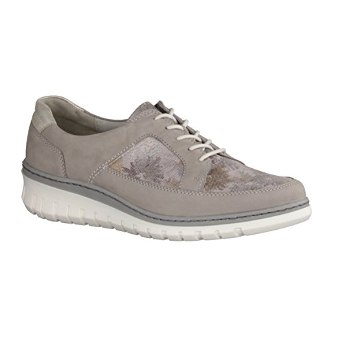 de mujer de cordones 300 Piel Zapatos Gris para Waldläufer 334 690001 qzIITY