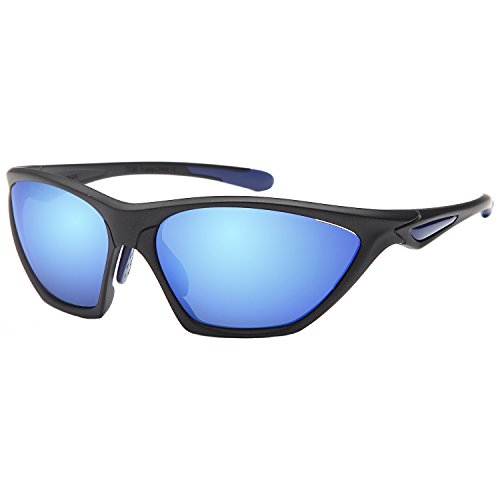 Naga Sports Sunglasses Charger UV400 Choose Polarized or Normal Lens (POLARIZED Blue Mirror Lens Black Frame)
